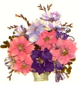 A basket of pressed flowers